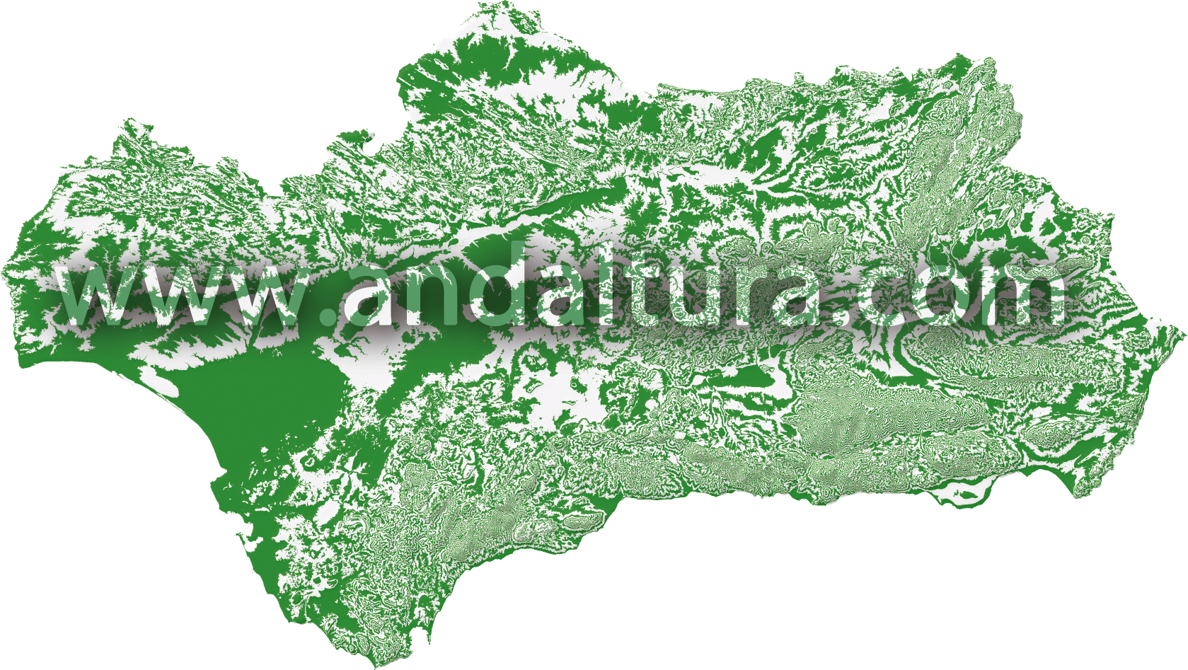 Mapa de Rutas de Senderismo por Andalucía de Andaltura