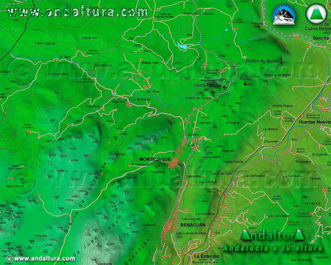 Mapa Cartografico de la Ruta de Senderismo del Cerro Tavizna y la Cueva del Hundidero
