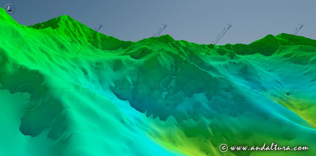 Imagen virtual del Mulhacén, Puntal de la Caldera y el Veleta, entre otros Tresmiles de Sierra Nevada