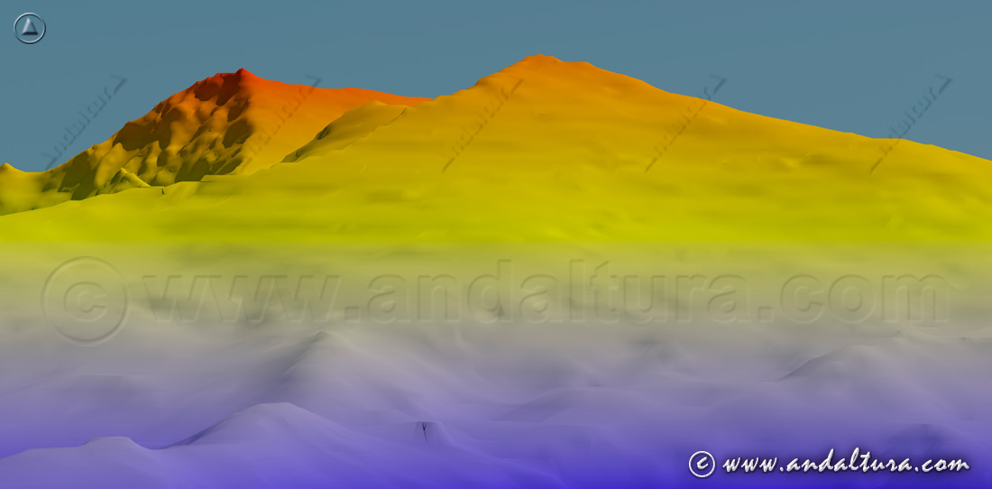 Imagen Virtual del Panderón del Veleta y al fondo el Mulhacén