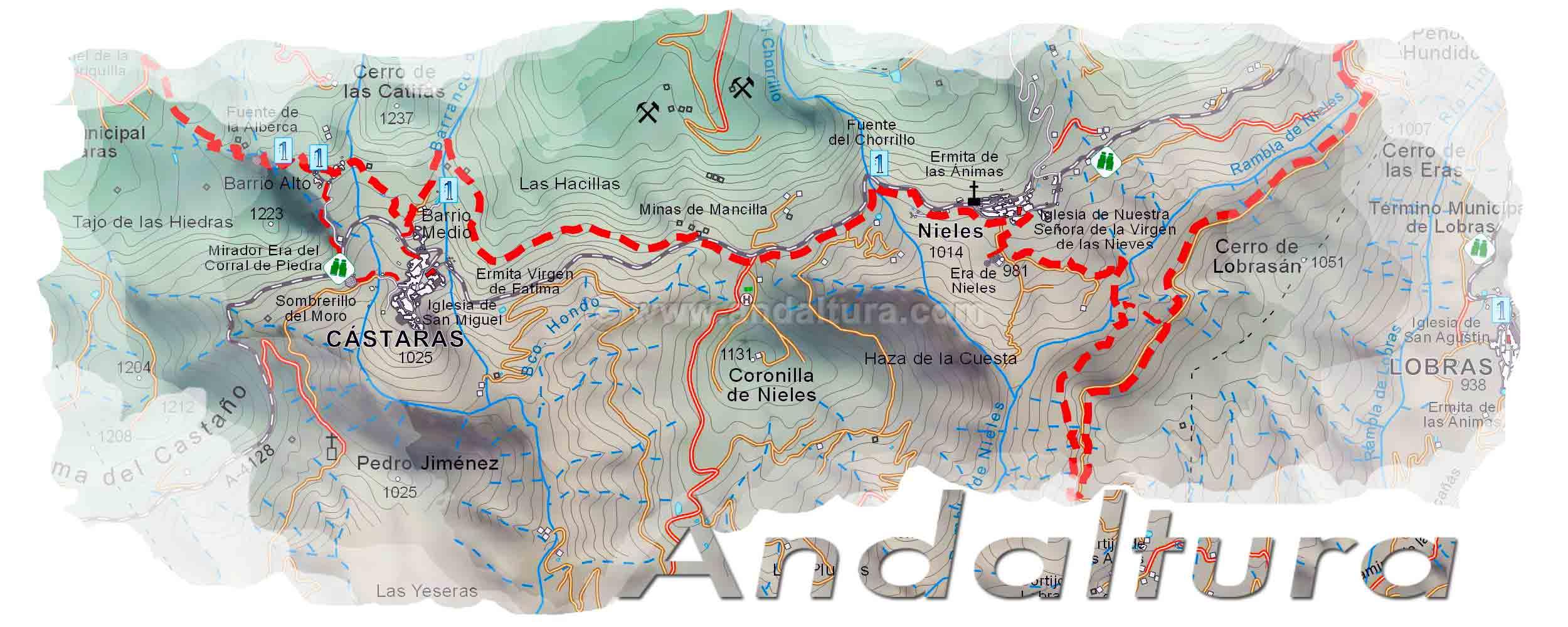 Cabecera Mapas Cartográficos de las Rutas de Senderismo por Andalucía de Andaltura