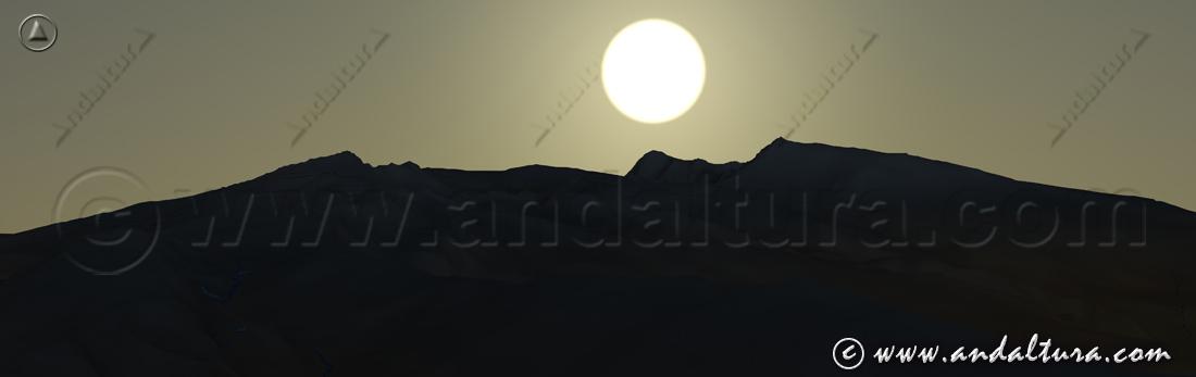 Imagen virtual del amanecer sobre los Colosos de Sierra Nevada