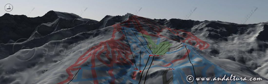 Imagen virtual de las pistas y remontes de la Estación de Esquí Sierra Nevada