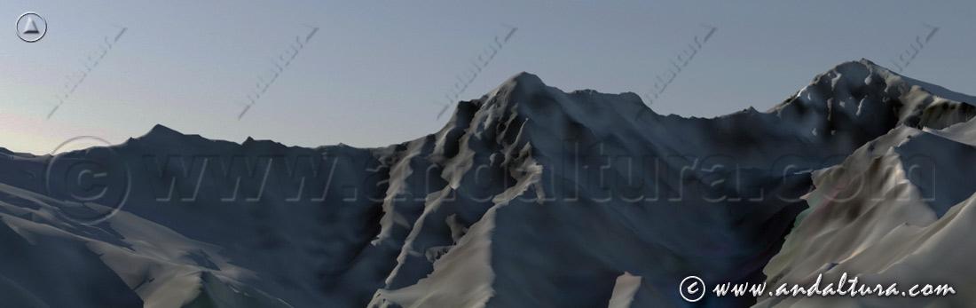 Imagen Virtual del Puntal de Vacares, la Alcazaba y el Mulhacén