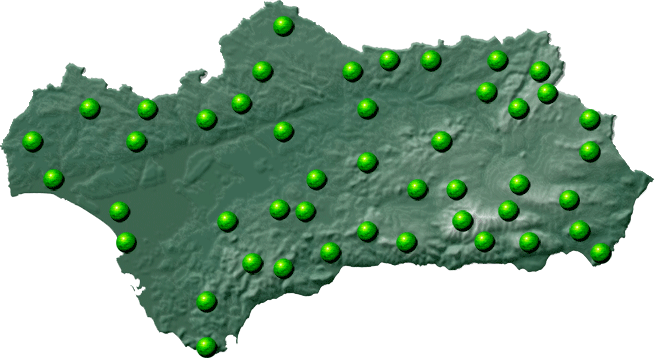 Mapa de Andalucía de Rutas de Senderismo por Andalucía de Andaltura, Nuestro Territorio