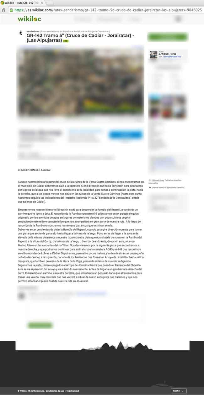 Captura del plagio a Andaltura de la Ruta del GR142 de Cástaras a Jorairátar plagiada en wikiloc