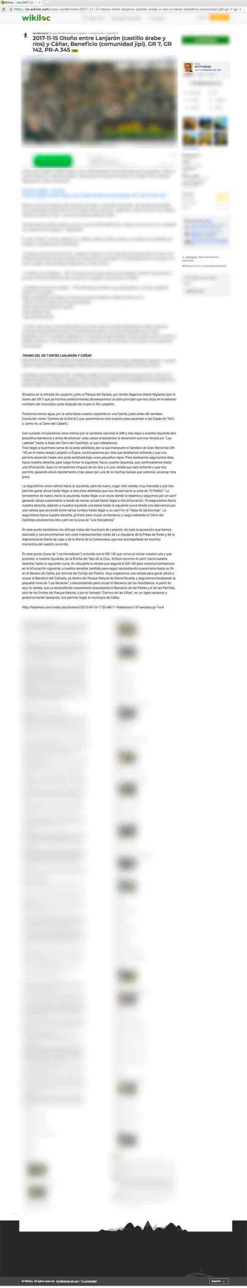 Captura del plagio a Andaltura de la Ruta del GR7 de Lanjarón a Cañar en wikiloc