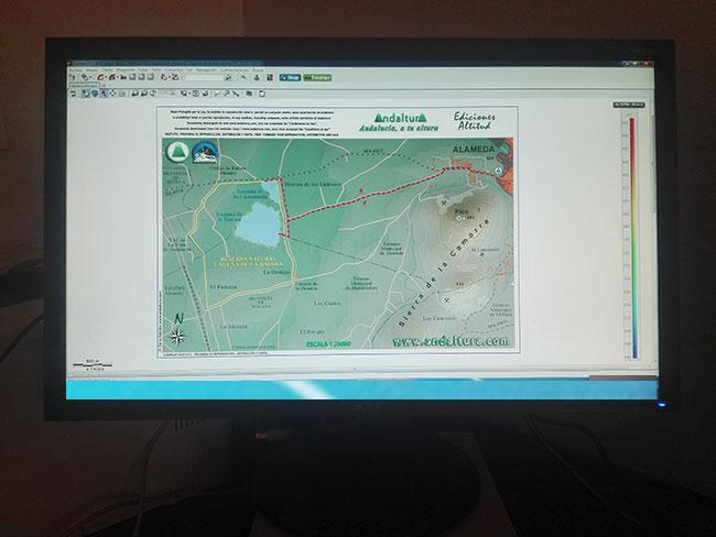 Ejemplo de Mapas de las Rutas de Senderismo por Andalucia en Ordenador