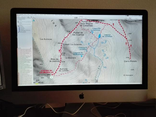 Ejemplo de Mapa Cartográfico de las Rutas de Senderismo por Andalucia de Andaltura en Programa Informático