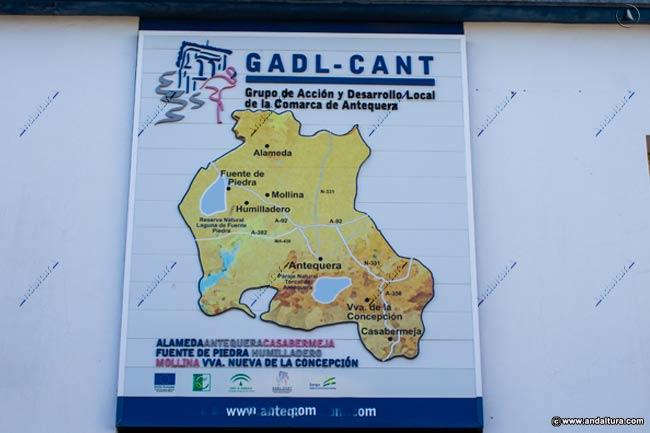 Cartel del GADL-CANT Grupo de Acción y Desarrollo Local de la Comarca de Antequera que plagia contenidos de Andaltura