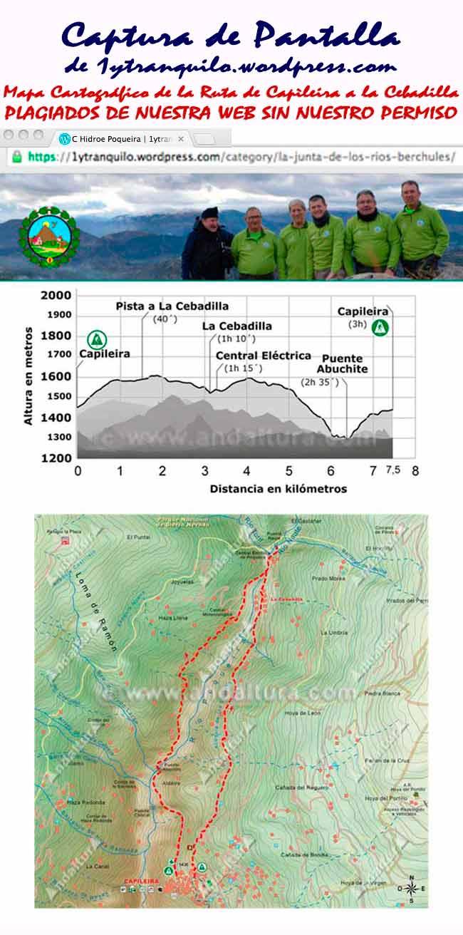 Captura del plagio de la Ruta de Capileira a La Cebadilla de Andaltura por 1ytranquilo