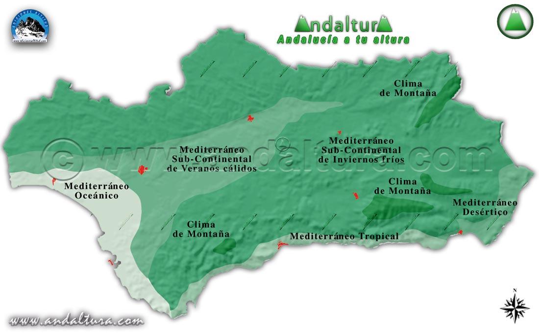 Clima de Andalucía - Mapa de las Zonas Climáticas de Andalucía -