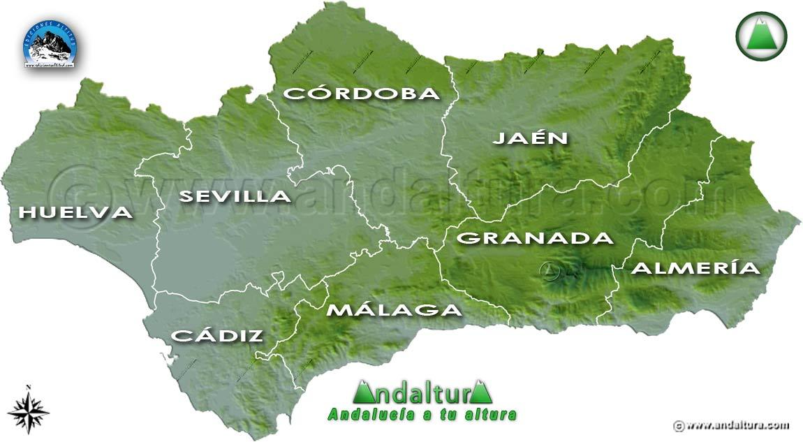 Provincias de Andalucía: Mapa