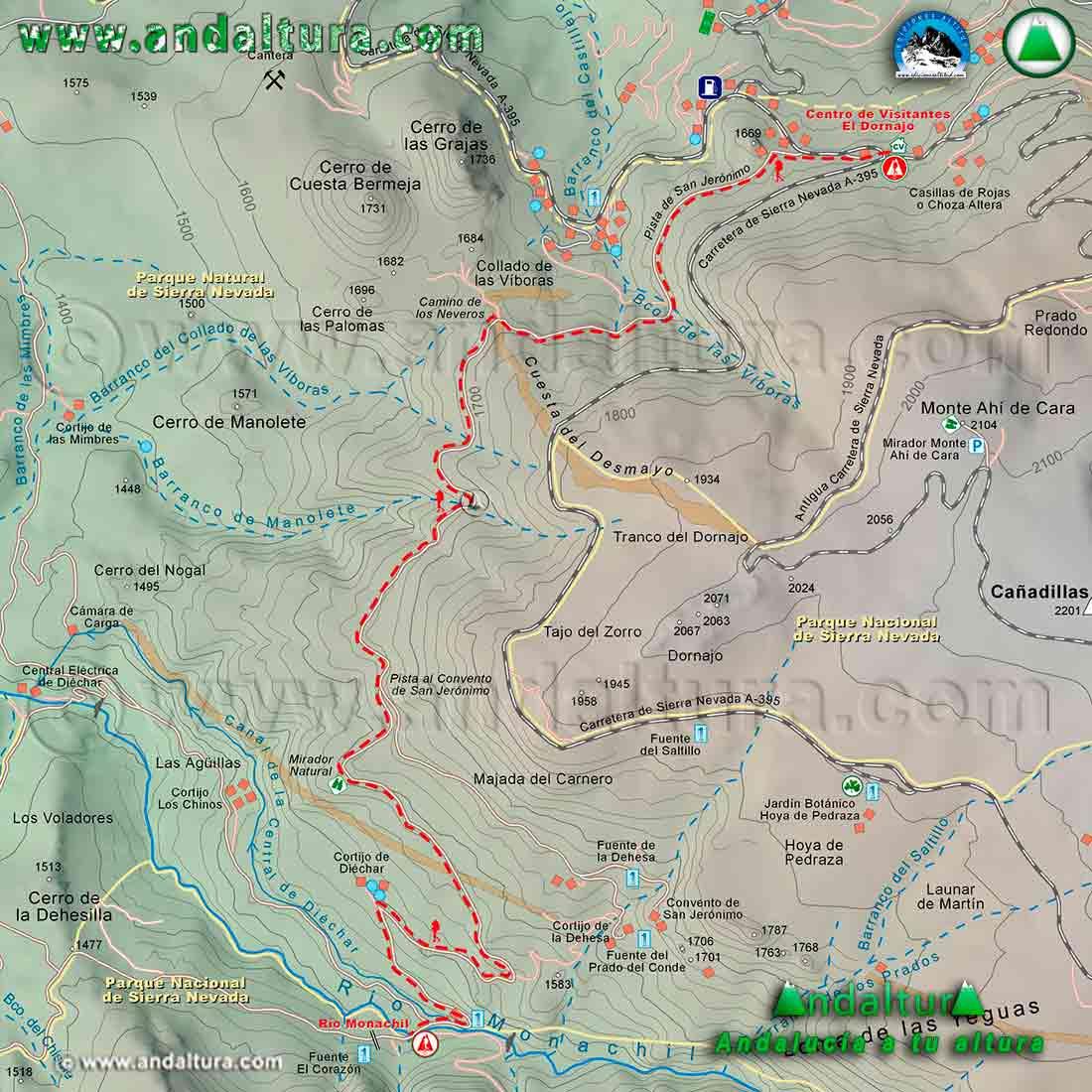 Mapa Cartográfico de la ruta de Senderismo del GR240, Sendero Sulayr, del Dornajo al Río Monachil