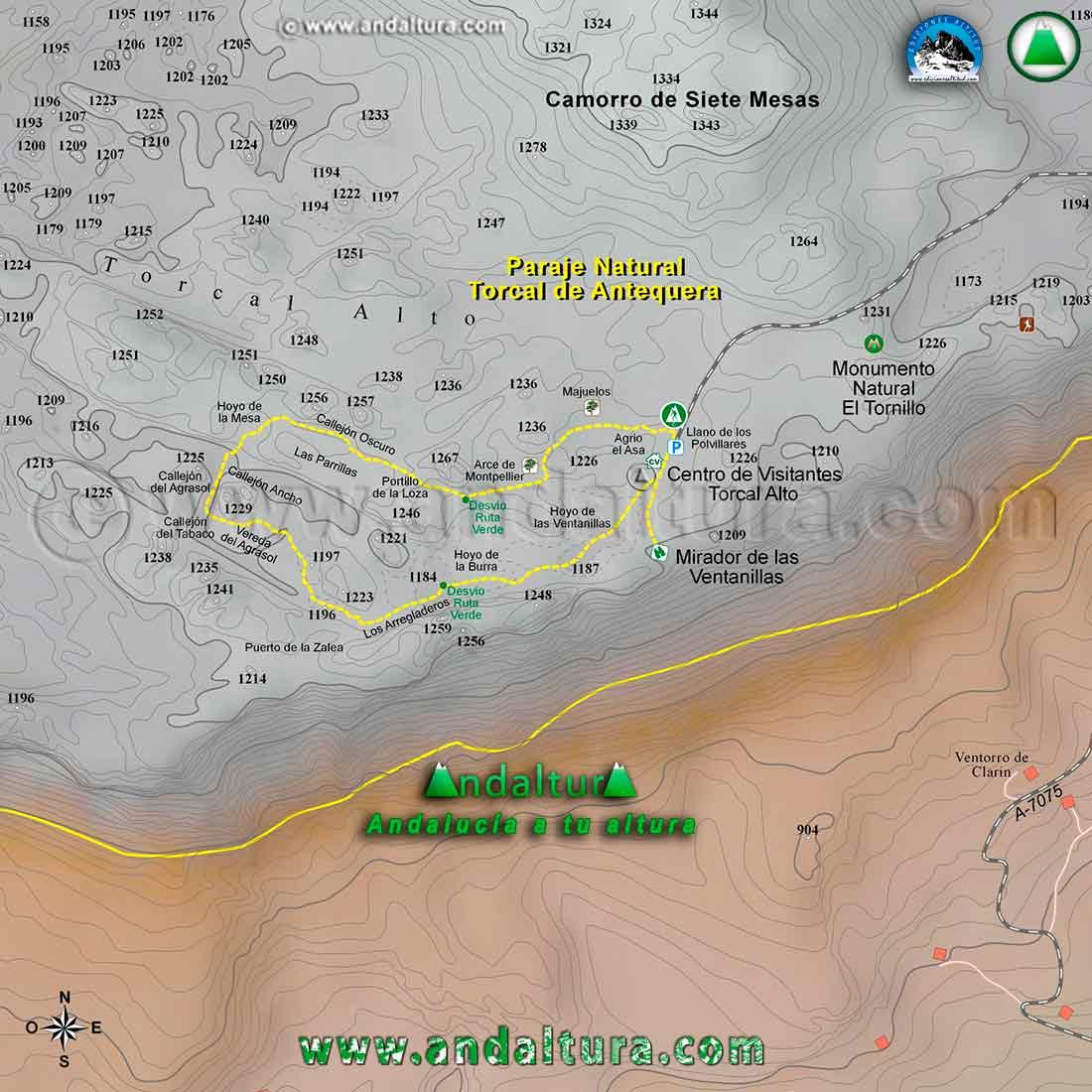 Mapa Cartográfico de la Ruta de Senderismo de la Ruta Amarilla por el Torcal de Andquera