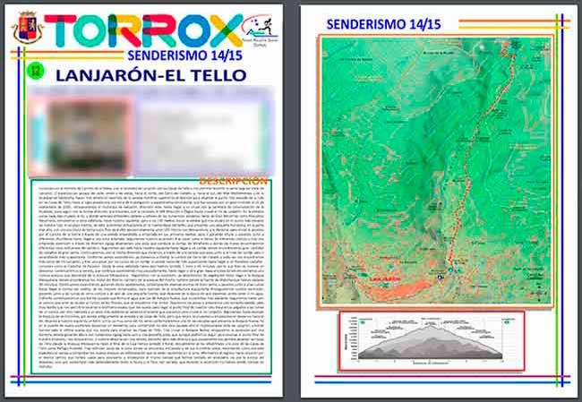 PDF de los Contenidos y Mapas plagiados de Andaltura por el Ayuntamiento y el Patronato de Deportes de Torrox de Lanjarón a las Casas de Tello
