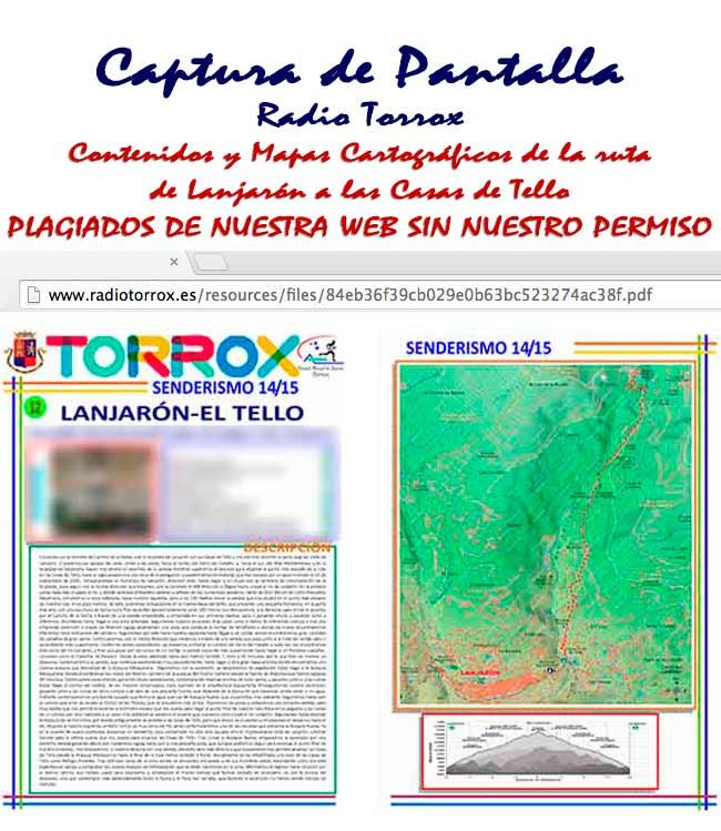 PDF de los Contenidos y Mapas plagiados de Andaltura por Radio Torrox de Lanjarón a las Casas de Tello