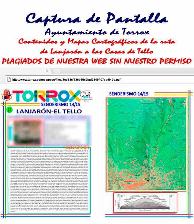 PDF de los Contenidos y Mapas plagiados de Andaltura por el Ayuntamiento de Torrox de Lanjarón a las Casas de Tello