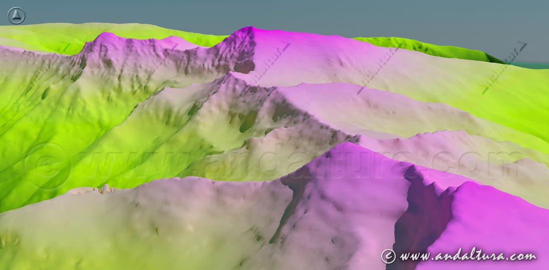 Imagen virtual del Veleta, Cerro de los Machos, Mulhacén y Alcazaba