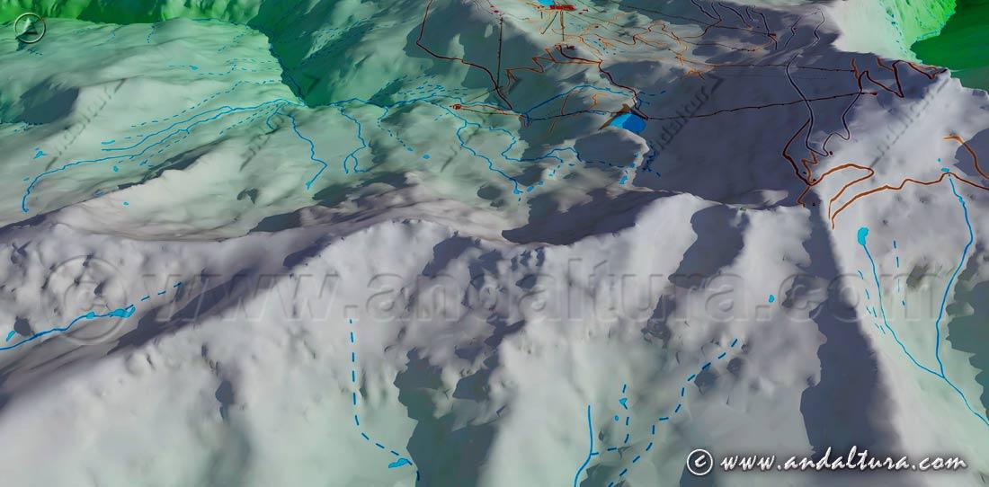Imagen Virtual de los Tresmiles de Sierra Nevada sobre el Valle de Dílar