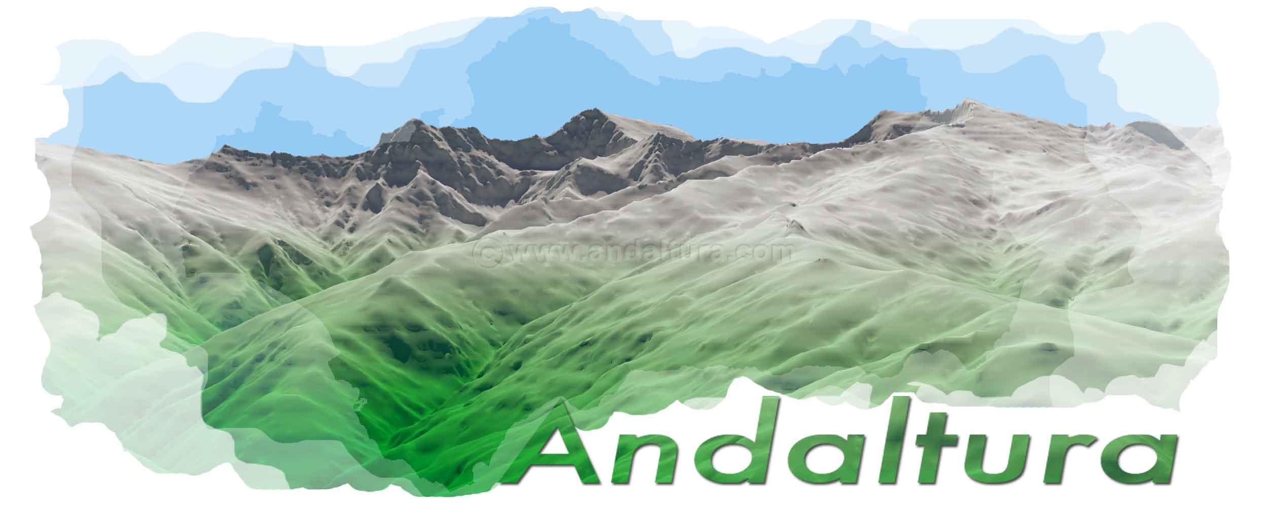 Imagen Virtual de los Colosos de Andalucía, Alcazaba, Mulhacén y Veleta