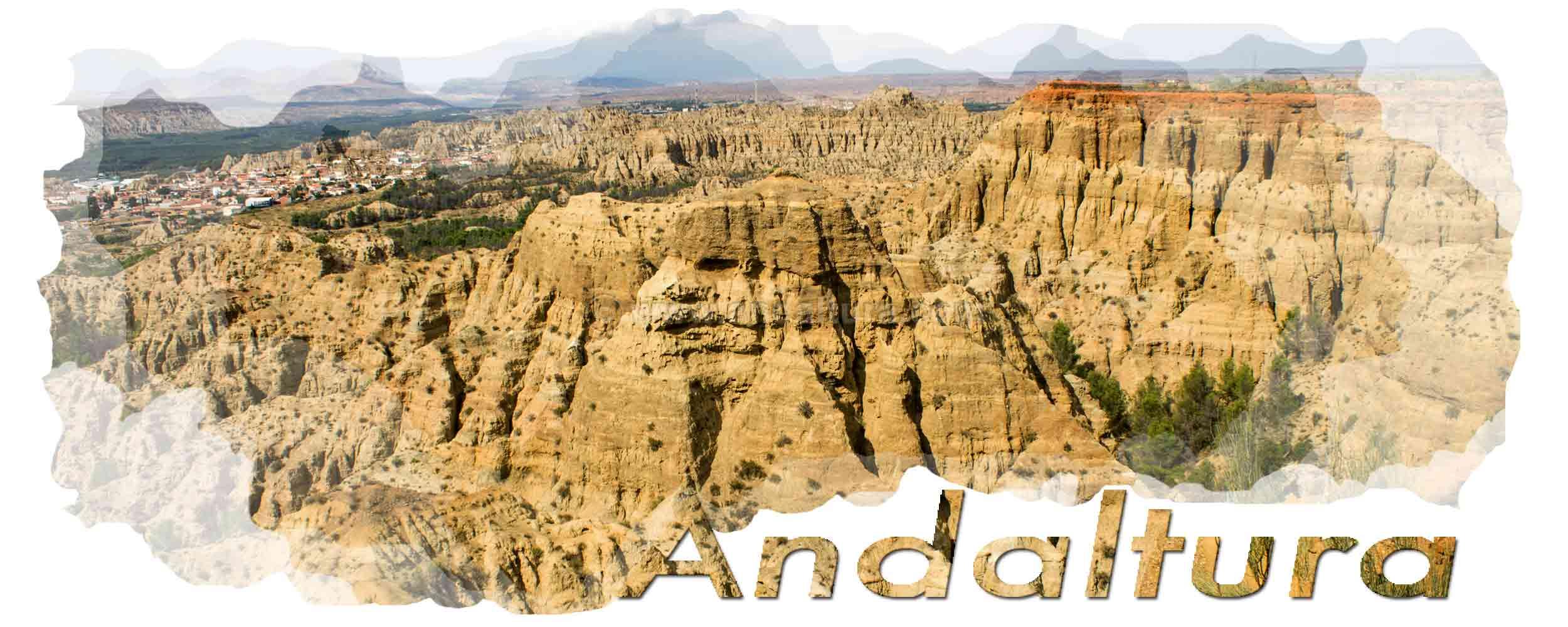 Captura plagio a Andaltura de la Ruta del GR142 de Fondales a Busquístar en wikiloc- Badlands de Purullena