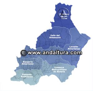 Mapa de las Comarcas de la Provincia de Almería: Acceso a los Contenidos