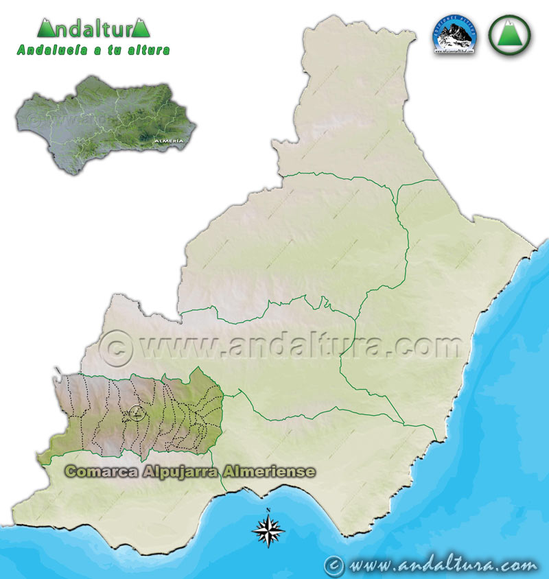 Comarca Alpujarra Almeriense: Mapa de Situación en la Provincia de Almería
