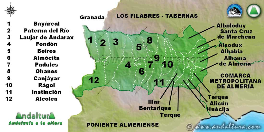 Mapa de la Comarca Alpujarra Almeriense: Municipios