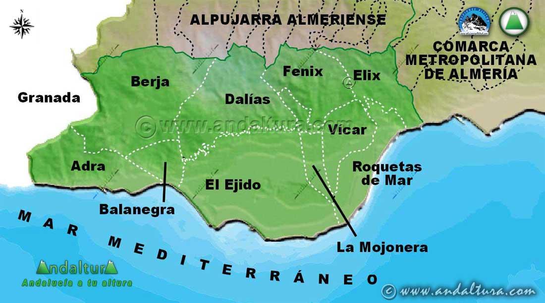 Mapa de la Comarca Poniente Almeriense: Municipios