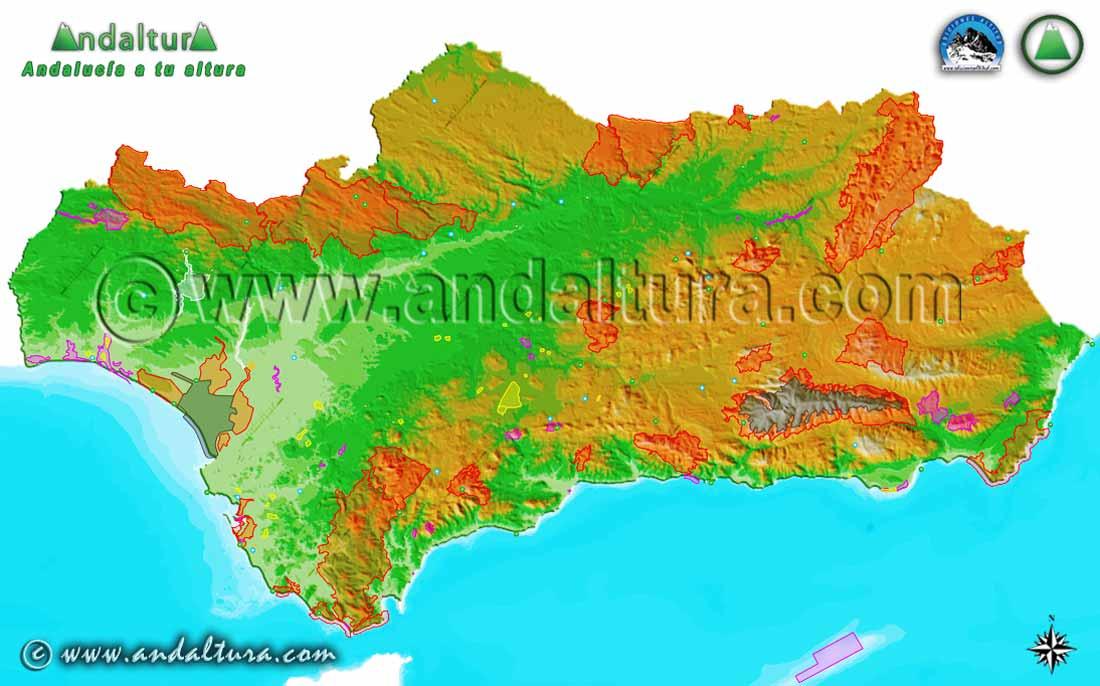 Espacios Naturales Protegidos de Andalucía - Mapa -