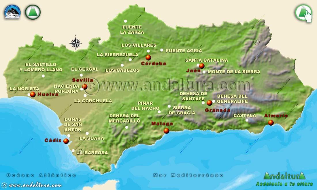 Mapa de los Parques Periurbanos de Andalucía