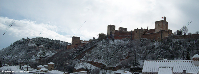 La Alhambra y el Generalife, vista nevada desde el Mirador de Carvajales