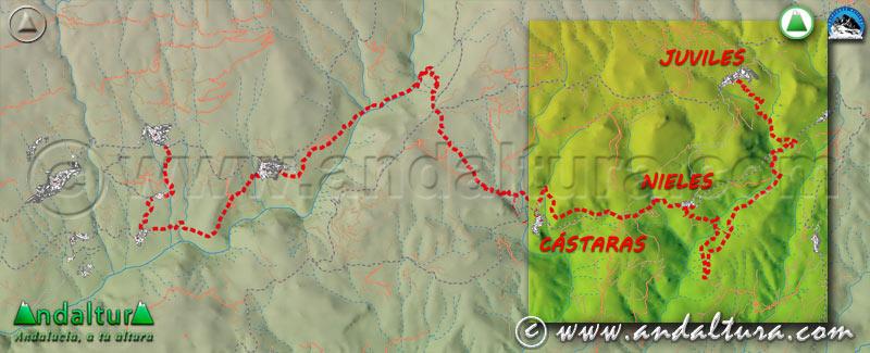 Mapa de situación del tercer tramo de la Ruta Medieval por la Alpujarra