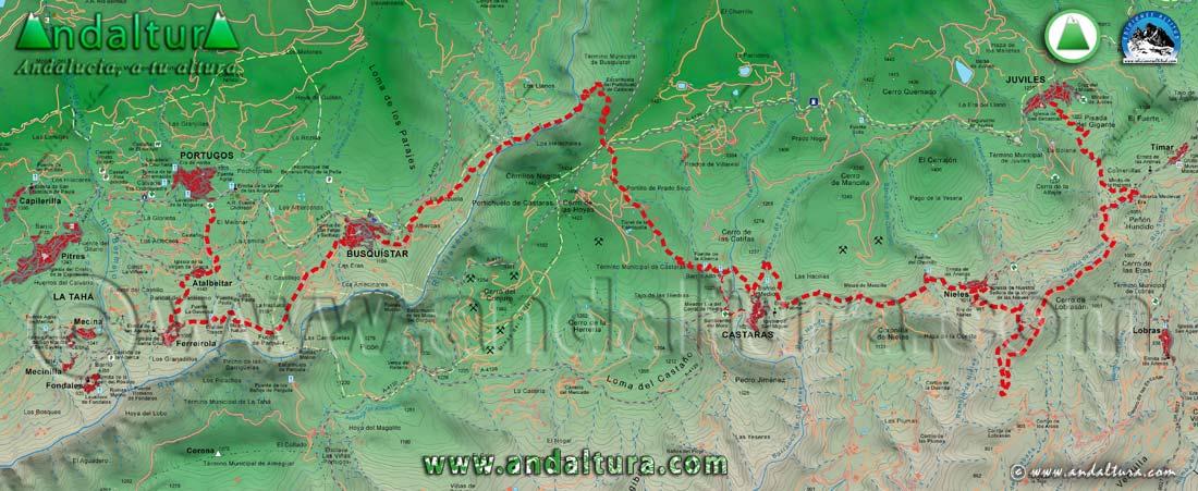 Mapa de la Ruta Medieval por la Alpujarra