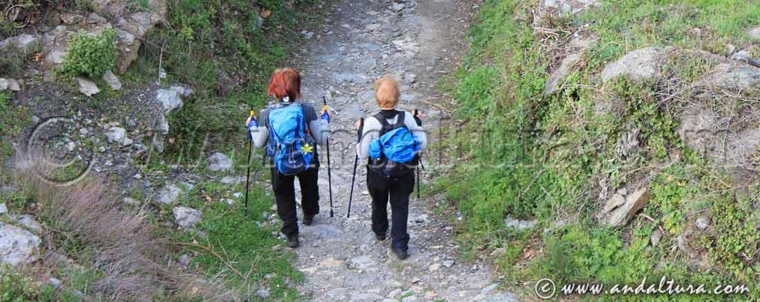 Senderistas recorriendo la Ruta Medieval por la Alpujarra