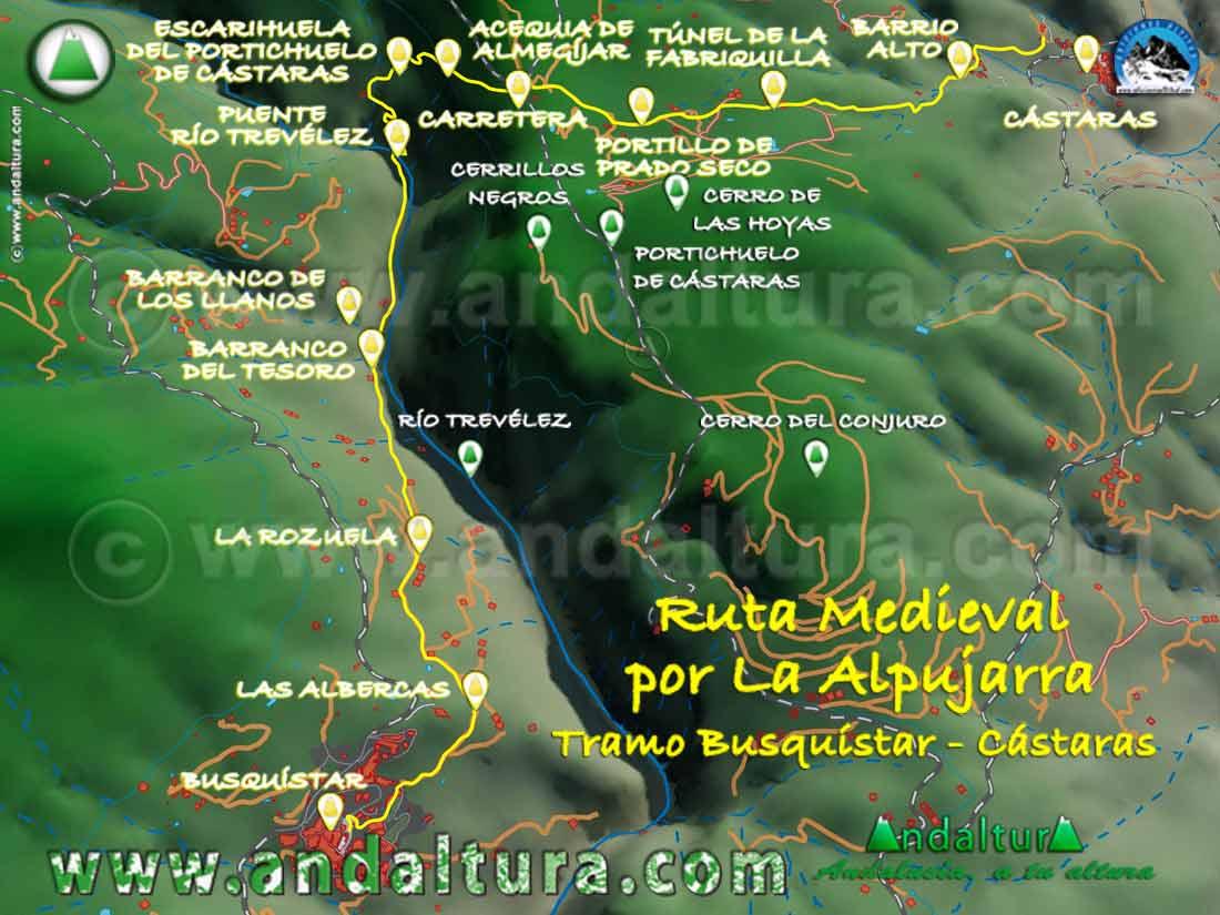 Imagen Virtual 3D del tramo de Busquístar a Cástaras de la Ruta Medieval por la Alpujarra