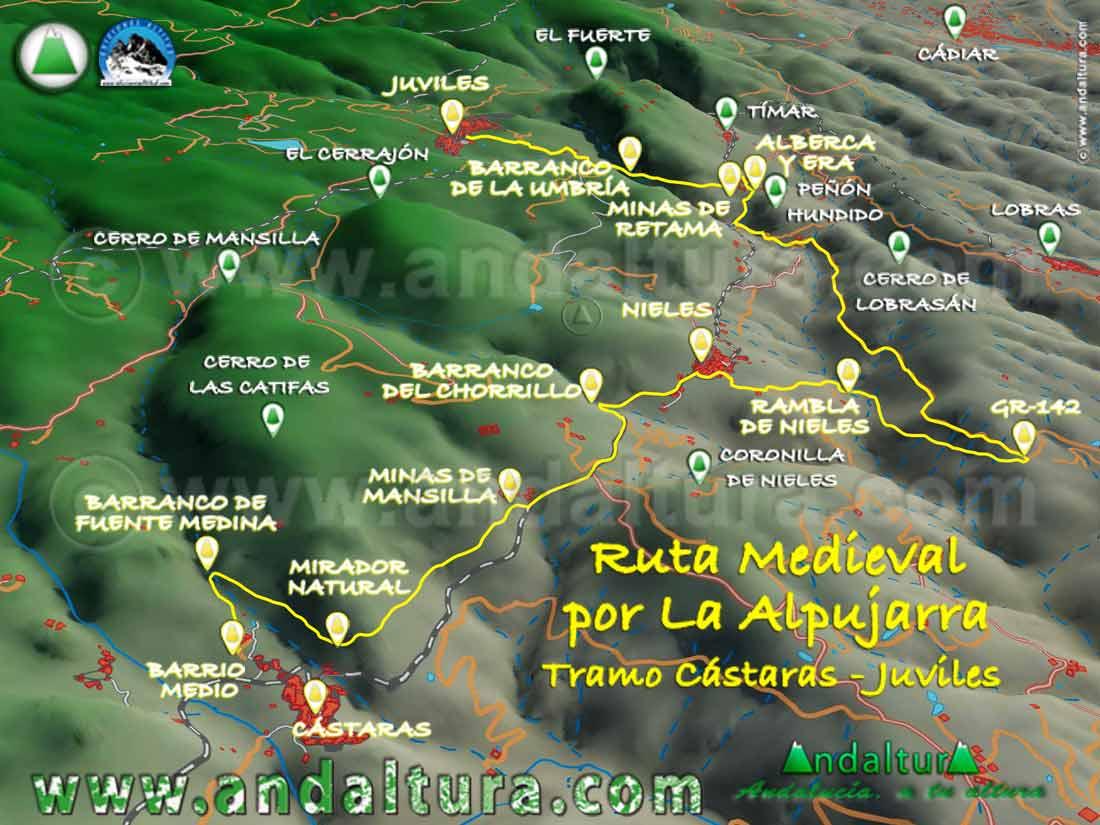 Imagen Virtual 3D del tramo de Cástaras a Juviles de la Ruta Medieval por la Alpujarra