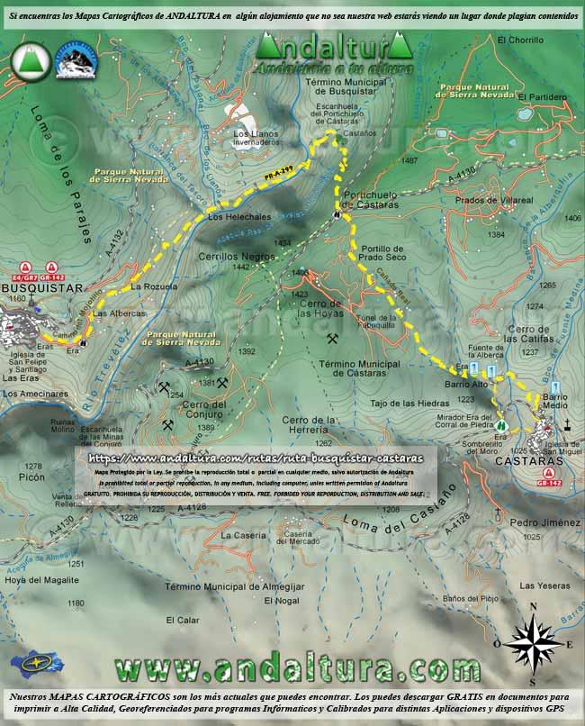 Mapa por la Ruta Medieval de la Alpujarra de Busquístar a Cástaras