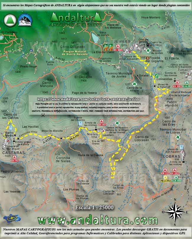 Mapa de Cástaras a Juviles por la Ruta Medieval de la Alpujarra