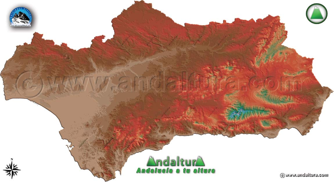 Mapa altitudinal de Andalucía