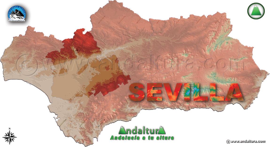 Provincia de Sevilla: Mapa de Situación en Andalucía