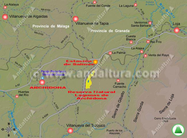 Accesos a Archidona - Mapa de Situación -