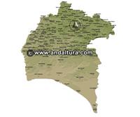 Mapa de Picos y Vértices Geodésicos de Huelva