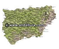 Mapa de Picos y Vértices Geodésicos de Jaén