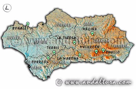Mapa de cuáles son los picos más altos de Andalucía