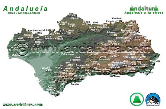 Mapa de los principales picos de Andalucía