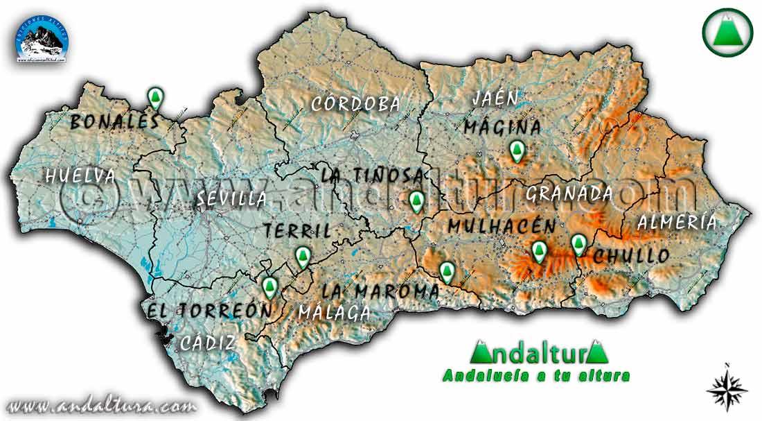 Mapa de los picos más altos de Andalucía por Provincias