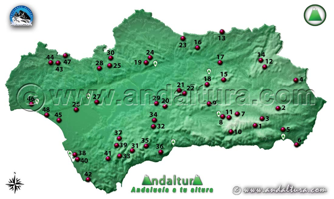 Mapa de las Mejores Rutas de Senderismo en Otoño por Andalucía
